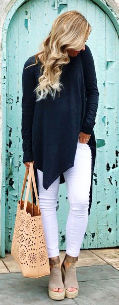 #spring #outfits Black Oversized Knit & White Skinny Jeans & Beige Tote Bag