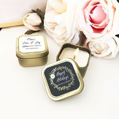 Personalized floral garden gold square candle tins add a hint of sparkle and elegance to your reception table settings. Inexpensive Stocking Stuffers, Inexpensive Christmas Gifts, Homemade Christmas Gifts, Holiday Gifts, Michael Johnson, Corporate Christmas Gifts, Corporate Gifts, Vaping, Cheap Gifts For Coworkers