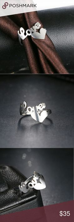 """🌹BEAUTIFUL LOVE """"LETTER"""" & HEART SILVER RING! 🌹BEAUTIFUL LOVE """"LETTER"""" & HEART SILVER RING!  925 SILVER HOLLOW LOVE HEART RING - EXCELLENT QUALITY - WILL NOT FADE!  SIZES: 7 & 8  🌹BRAND NEW IN PACKAGE-BNIP 🌹HIGHEST QUALITY PRODUCTS 🌹SAME DAY SHIPPING 🌹NO TRADES 🌹OFFERS ACCEPTED THROUGH THE OFFER BUTTON  🚫PLEASE FOLLOW CLOSET  RULES! I DO NOT TOLERATE RUDE BEHAVIOR IN MY BOUTIQUE PLEASE BE RESPECTFUL Jewelry Rings"""