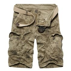 Casual Loose Fit Multi-Pockets Short Zip Fly Camo Cargo Pants For Men