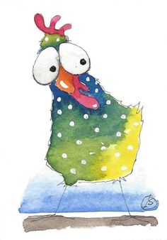 ACEO Original watercolor painting whimsical bird illustration green chicken #IllustrationArt