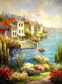 Landscape Painting, Wall Art, Canvas Painting, Large Painting, Living Room Wall Art, Oil Painting, Wall Painting, Canvas Art, Italian Summer Resort