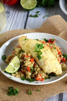 Tender tilapia filets with a sweet and spicy crust of macadamia nuts, coconut and lime!  #glutenfree #paleo #tilapia