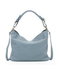 SUSU Lauren - Leather Hobo Bag with Crossbody Strap Feded Demin