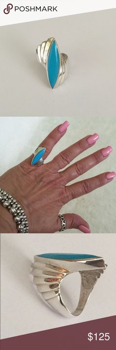 """Turquoise Sterling Silver Ring Hallmarked """"Sterling"""" also has a designers mark. Elongated marque shaped topaz. Nice statement piece. Size 5 Vintage Jewelry Rings"""