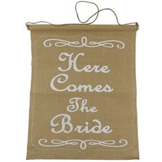 <div>Celebrate the bride with this rustic wedding banner. The burlap banner proudly announces in...