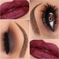 dark red lips, warm dark matte smokey eye with a smudged winged eyeliner | sexy but chic makeup @makeupbyriz, perfect for fall.. or really anytime
