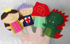 Sant Jordi: títeres de dedo en fieltro / felt finger puppets