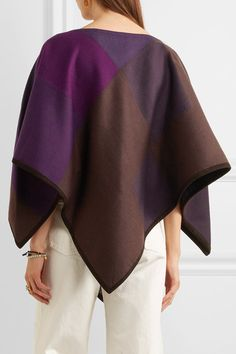 Babjades - Suede-trimmed Wool-blend Poncho - Purple - one size