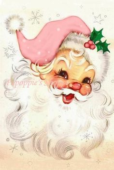 ~ Shabby Chic Vintage Christmas Jolly Pink Santa Fabric Block Quilting FB 333 ~ I love Pink Santas! Christmas Paintings, Christmas Art, White Christmas, Christmas Decorations, Christmas Mantles, Christmas Villages, Christmas Ornaments, Xmas, Vintage Pink Christmas