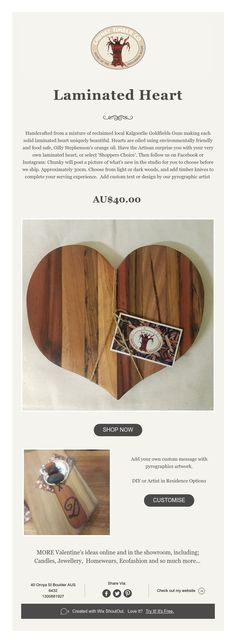 Laminated Heart - $40 Reclaimed timber love heart board for anything from cupcakes to cheese YUM!