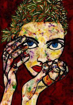 "Saatchi Art Artist CARMEN LUNA; Painting, ""78-RETRATOS Expresionistas. Mariposa."" #art"