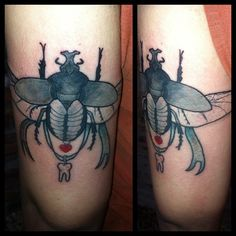 #beetle #beetletattoo #tooth #toothtattoo #heart #hearttattoo #tattoo #tattoos #zoebeantattoo
