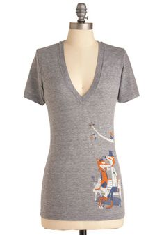 Love is Sly Tee - Grey, Print with Animals, Casual, Short Sleeves, Jersey, Cotton, V Neck, Mid-length, Summer, Travel, Critters, Good, Best Seller, Grey, Short Sleeve, Valentine's, Novelty Print, Top Rated, Woodland Creature