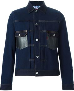 $796, Navy Denim Jacket: Comme des Garcons Junya Watanabe Comme Des Garons Man X Levis Denim Jacket. Sold by farfetch.com. Click for more info: https://lookastic.com/men/shop_items/296800/redirect