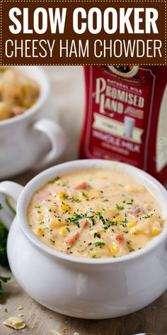a big bowl of this cheesy ham chowder, made easy in the slow cooker! Perfect for a busy weeknight! Crock Pot Slow Cooker, Crock Pot Cooking, Slow Cooker Recipes, Crockpot Recipes, Cooking Recipes, Cooking Lamb, Ham Chowder Recipe, Chowder Recipes, Soup Recipes