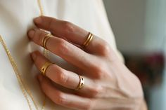 Tiny Oval Knuckle Ring-Geometry Collection-Handcrafted Gold Plated Brass