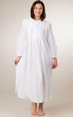 long+sleeve+white+nightgown | ... XL Miss Sleepwear - Woven Cotton Long Sleeve Nightgown - Angelic White