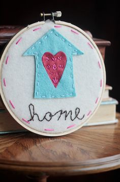 Home Sweet Home Embroidery Hoop Art
