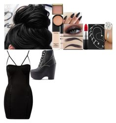 """""""Mission / kingsman secret service"""" by fuckmeirwin ❤ liked on Polyvore featuring MAC Cosmetics, NYX, Benefit, Topshop and Jeffrey Campbell"""