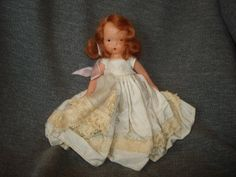 "NASB NANCY ANN Storybook Doll #182 Wednesday's Child ~ Ivory Taffeta Dress ~ 5-1/2"" Bisque Doll Stiff Legs by PastPossessionsOnly on Etsy"