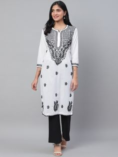 Ada Hand Embroidered White Cotton Lucknowi Chikankari Kurti-A100592 has a straight long finish along with straight hems. #Adachikan #Ada #chikankari #handembroidered #chikan #kurti #cotton #shoponline