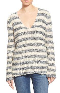 Grey knit striped sweater