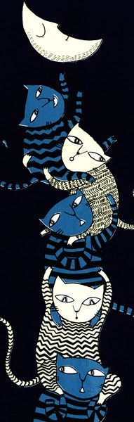 Seven Cats, trying to steal the moon - Mina Braun