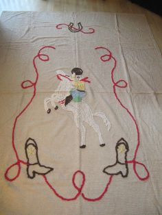 Vintage Western Rodeo Cowboy Up Western Chenille Bedspread Blanket FREE SHIPPING