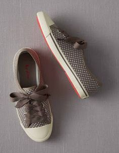 Spotty Canvas Plimsolls Flats at Boden Rain Boots, Shoe Boots, Baskets, Orange Clutches, Plimsolls, How To Make Shorts, Party Shoes, Leather Boots, Fashion Shoes