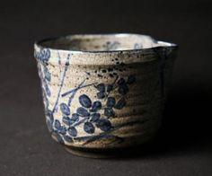 Antique blue-and-white kyo-yaki katakuchi (single mouth) vessel with skillfully painted hagi (bush clover) motif. Very Kyoto