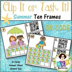This Summer themed ten frame QR Code Counting Clip It or Task It card set makes for an engaging math center activity.  Use this set as clip cards and your students will practice matching the correct QR code number with the ten frame image on the cards and enhance their fine motor skills at the same time. Just add clothespins and a device to read the QR code, then let the fun begin.  Use this set as task cards with the recording sheet and answer key.