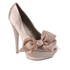 PRUCHA - Peep Toe Satin Pumps With Bows....Adorable