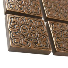 "Decorative Tile Medallions Found It At Wayfair  Metal Ages 2"" X 2"" Romanesque Glazed"