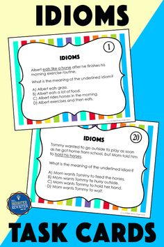 32 task cards, a spinner game, and a worksheet help 3rd-5th students identify the meanings of common idioms. Context clues are used to help readers infer meanings. Main Idea Activities, Inference Activities, Vocabulary Activities, Third Grade Reading, Student Reading, Character Traits Activities, Character Education, Response To Intervention, Reading Response