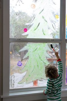 Window Painting for Kids - Rooted Childhood Painted Window Art, Painting On Glass Windows, Painted Doors, Window Paint, Painting For Kids, Diy Painting, Children Painting, Painted Sticks, Cool Paintings
