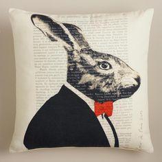 Rabbit Bonjour Paris Throw Pillow #poachit