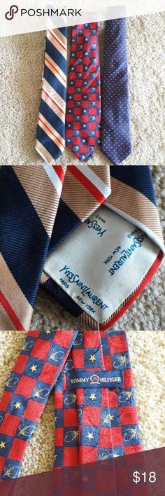 Lot of 3 Mens Designer Neck Ties Lot of 3 Mens Designer Neck Ties  Vintage Yves Saint Laurent Blue & Gold   Chaps Ralph Lauren Blue Circle 100% Silk   Tommy Hilfiger Red & Blue Fishing Hook 100% Silk Tommy Hilfiger Accessories Ties