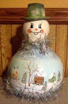 Christmas Gourd Snowman Village Scene