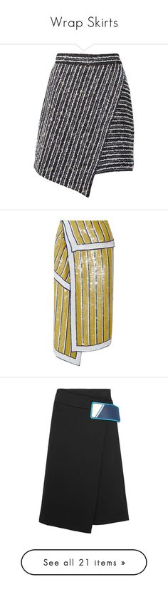 """Wrap Skirts"" by anja-173 on Polyvore featuring skirts, bottoms, polleras, dark grey, stripe skirt, striped skirt, short wrap skirt, high-waist skirt, asymmetrical skirt and monse"