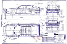 Audi Quattro, factory blueprint dated July '79, 10 months before the March '80 launch. Note the 'Type 85' model designation which the Quattro shared with the B2 Coupe