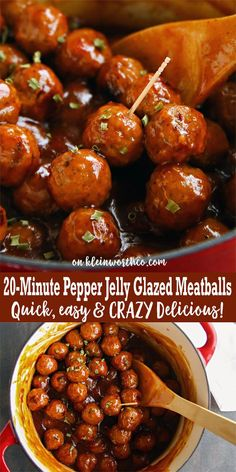 20-Minute Pepper Jelly Glazed Meatballs are the easiest appetizer recipe for your party or celebration. Great for game time tailgating too! Quick & YUMMY! via @KleinworthCo