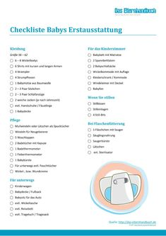 Babys Erstausstattung – mit Checkliste zum Download! - Es gibt nichts Aufregenderes als die ersten Wochen mit einem Baby. Wir haben eine praktische Checkliste für Babys Erstausstattung zum Download erstellt. #Baby, #Checkliste, #Erstausstattung