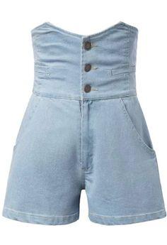 High Waist Single-breasted Denim Light Blue Shorts