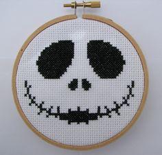 "Handmade ""Jack"" The Nightmare Before Christmas Hoop Cross Stitch by RikkasCreations on Etsy"