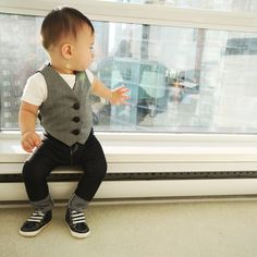 """Baby Boy Ringbearer Outfit - Vest and Skinny Jeans """"The Funky Ringbearer"""""""