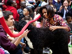 "MICHELLE OBAMA  In addition to her two girls, Malia and Sasha, the First Lady has a ""son"" in her beloved Portuguese water dog, Bo. Mrs. Obama is such a proud mom that she considers her pooch ""the smartest dog on the planet."""