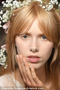 At Rodarte spring 2018 in Paris on Sunday, models walked the runway with epic wreaths of baby's breath in their hair (right) and live blooms on their nails (left). Babys Breath Hair, Baby's Breath, Strawberry Blonde, Nail Pro, Traditional Wedding, Beauty Trends, Manicures, Hair Colors, Creative Inspiration