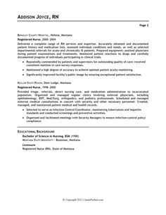 healthcare nursing sample resume
