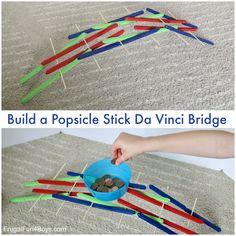 STEM Activity: Build a Popsicle Stick Da Vinci Bridge – Frugal Fun For Boys and Girls Love this post? Then pass it on! Popsicle Bridge, Popsicle Stick Bridges, Popsicle Stick Crafts, Craft Stick Crafts, Popsicle Sticks, Kids Crafts, Craft Sticks, Lollipop Sticks, Plate Crafts
